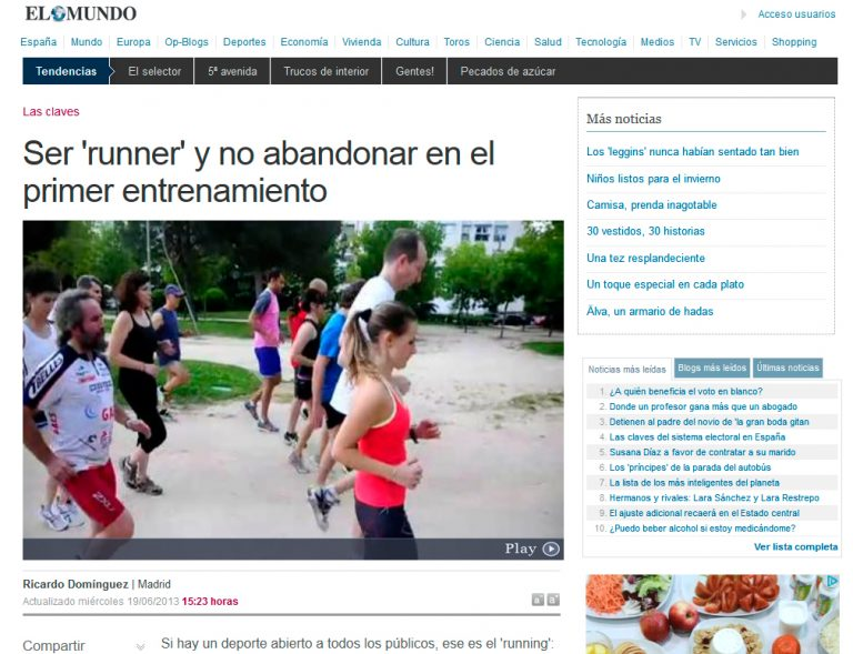 Redactor freelance El Mundo: Ser runner